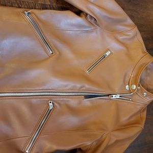 Camel tan leather Coach Jacket